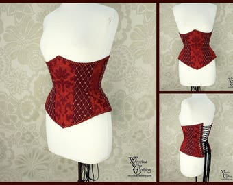 Steampunk Renaissance Russet & Burgundy Steel Boned Corset - You Choose Your Corset Style - Custom Sized