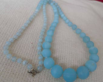 Long opaque glass necklace unusual blue 1940's/50's