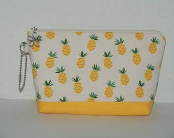 "Large Padded Zipper Pouch/Pencil Case/Cosmetic Case with Pocket Made with Cotton Fabric ""Pineapples"""