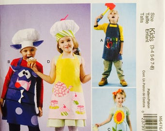 McCall's M6476, Size 3-4-5-6-7-8, Kids' Aprons and Hats Pattern, UNCUT, Fashion Accessories, Kids, Cooking, Gardening, Art, Play, School