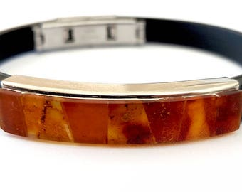 Baltic Amber Bracelet for Him, Man Bracelet