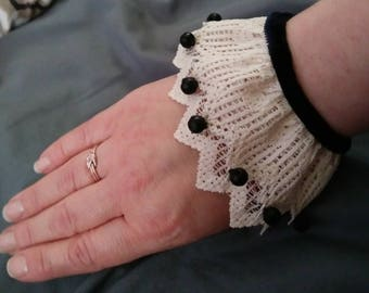 Costume Accessory Cuffs- One Pair of Handmade Vintage Lace and Victorian Jet Bead Accessory Cuffs/ Free Shipping