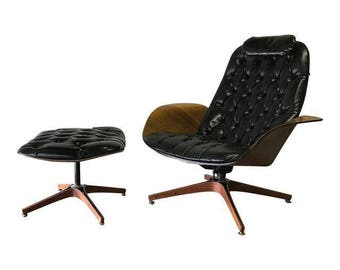 "Mid Century Modern ""MR. CHAIR"" LOUNGE Chair + Ottoman Mulhauser"