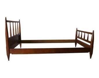 Mid Century Modern TWIN Size WALNUT BED