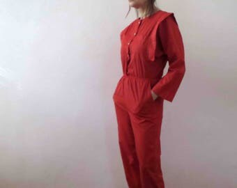 80s Red Boiler Suit Jumpsuit Play Suit Polished Cotton Small