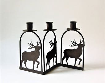 Rusty Brown Deer Stag Candle Holder