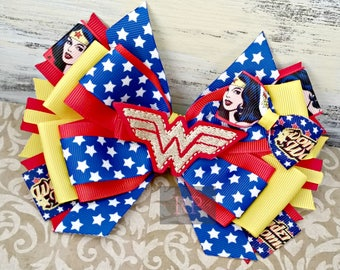 Stacked Boutique Hairbow with WonderWoman Felt Clip Center - ComicCon Hair Clip - Wonder Woman HandSewn Bow - Superhero- RTS (Ready to Ship)