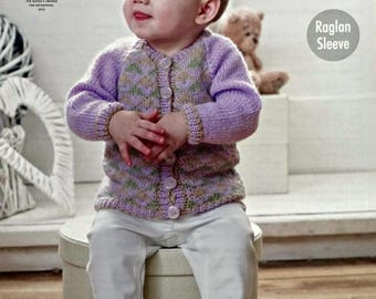 Baby Knitting Pattern K4732 Babies Long Sleeve Round Neck Fairisle Cardigan Knitting Pattern DK (Light Worsted) King Cole