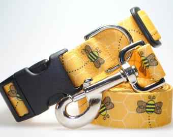 """Bees Collar and Leash Combination - 1"""" Width"""