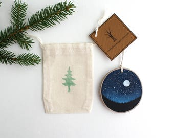 Full Moon Night Sky Ornament - Hand Painted Christmas Ornament - Woodland Ornament