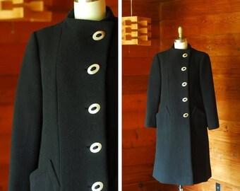 20% off weekend sale / vintage Pauline Trigère black wool coat / size small