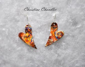 Sweet Heart Earrings - Copper Heart Earrings - Flame Painted - Valentine Heart Jewelry - Copper Jewelry - Heart Jewelry - Christine Chandler