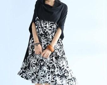 Black Oversize cloak dress Large size printing summer sundress