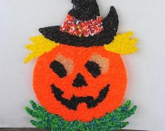 Vintage Pumpkin Jack o Lantern Melted Plastic Popcorn Decoration