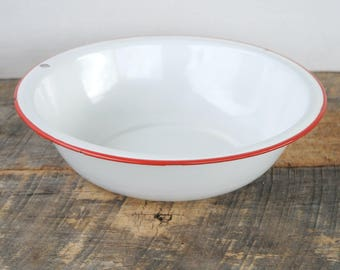 Vintage Enamelware Bowl White With Red Trim