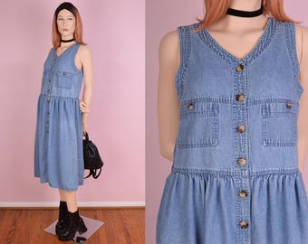 80s Denim Button Down Dress/ US 10/ 1980s/ Tank/ Sleeveless