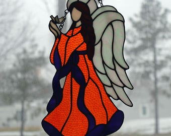 Stained Glass Angel - 11 in. tall - Hope - Orange