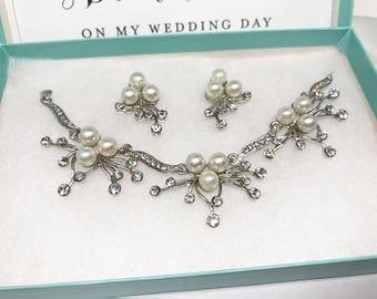 Bridal jewelry set, Bridal bracelet earrings, Wedding jewelry, bridesmaid jewelry set, Pearl bracelet, wedding earrings, Pearl earrings