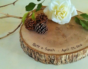 "14""Tree slice - Rustic wedding cake stand - Centerpiece - Woodburning - Reclaimed tree slice - Tree log"