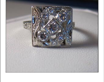 Antique Deco 14k Square .51 CT Diamond Cluster Engagement or Cocktail Ring