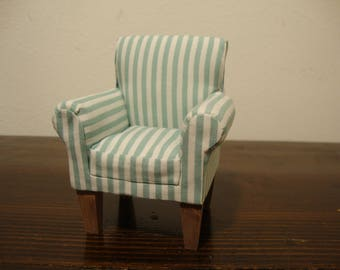 Furniture for dollhouse, wooden armchair, white and green stripes