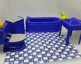 Plasco Tub Sink Toilet  and Hamper Toy Dollhouse Traditional Style 1944 bathroom laundry Peacock Blue