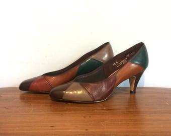 Vintage 70s Patchwork Color Block Pumps / Multi-Color Leather Heels /  Mid Century Heels / 7.5