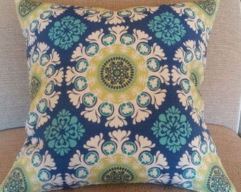 Two  20 x 20  Custom Pillow Covers- Indoor/Outdoor -   Medallion - Citrine Blue Teal