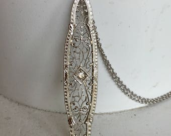 Striking Diamond Filigree Pendant Necklace - 14k White Gold