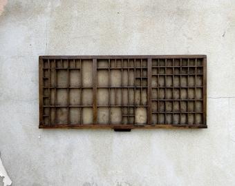 Rustic Vintage Wooden Printers Tray Letterpress Drawer