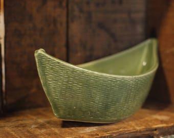 Dory Dip Boat in Spearmint Green by Village Pottery PEI
