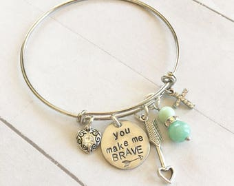 RESERVED FOR STACEY Bronze With Brave Wings She Flies Necklace and Silver You Make Me Brave Bangle