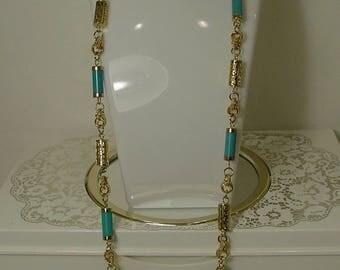 Mid Century Geometric Turquoise Blue Greek Key Necklace