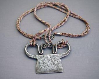 Thai Silver Amulet Hill Tribe Spirit Lock Soul Lock Pendant Necklace