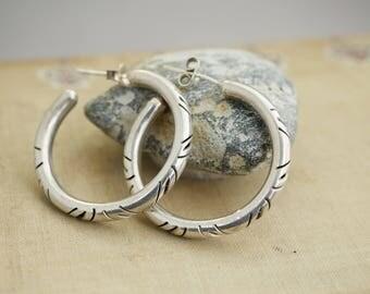 ornate Earrings Sterling Silver Hoop Earrings Sterling Earrings Mexican Silver Artist Marked Hoops  BV12