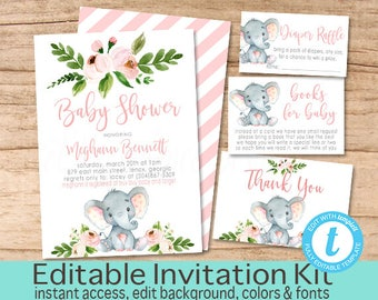 Elephant Baby Shower Invitation Kit, Safari Floral Invitation Set, Editable Shower invitation Suite, Girl Elephant Invite, Instant Download