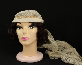 Vintage Art Deco Off White and Taupe Beaded Wedding Headpiece and Veil