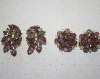 Two 2 Pair of Vintage Earrings Clip On, Gold Tone with Light Purple Rhinestones, Silver Tone Aurora Borealis Bead Cluster