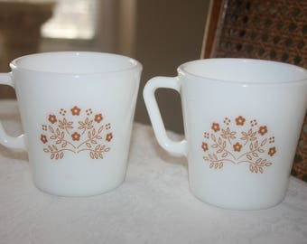 Pair Two 2 Vintage Pyrex Ginger Pattern Coffee Mug Tea Cup Cups, 9 ounces, Retro Mid Century 1970s