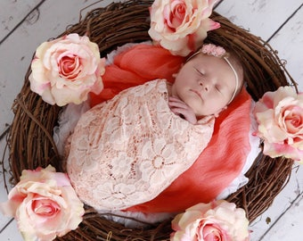 Blush embroidered vintage stretch lace swaddle wrap and/or mini flower headband for newborn photo shoots, bebe, foto by Lil Miss Sweet Pea