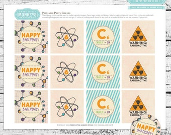 Science Birthday Party Circles Cupcake Toppers