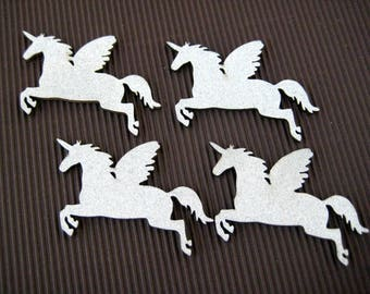 "Wood Silver Glitter Unicorn for Magical Unicorn Themed, Baby Shower, Party Favors, Cup Cake Topper, Centerpiece, 2.25"" W x 1.5"" H, 25 pieces"