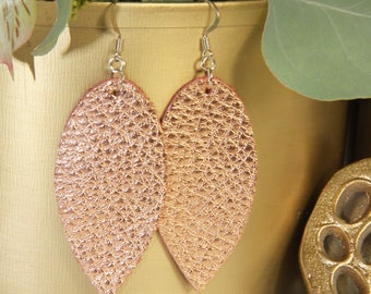 Copper leather earrings