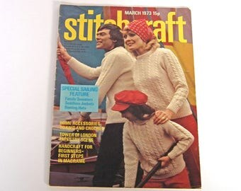 Stitchcraft Vintage Magazine, March 1973, Knitting, Crochet, Sewing, Crafts, Macrame, Family Sweaters, Cushions, Bags, Home Crafts