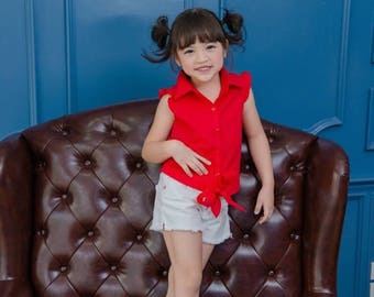 Girl Red Shirt Sleeveless Top