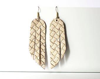 Leather Earrings / Fringe / Woven Gold