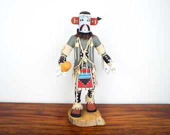 Vintage Southwestern Signed Wooden Kachina Rain Dancer Doll, Unique Western Home Decor Decoration, Hand Painted Native American Wood Figure