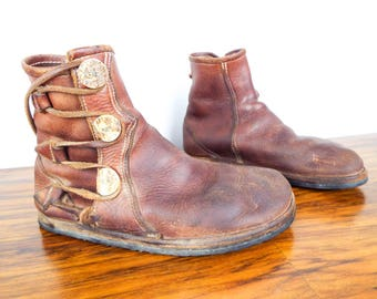 Vintage Distressed Brown Leather Mens Boots Retro w Side Buttons Lace Up Size 11, Unique Birthday Gifts for Him