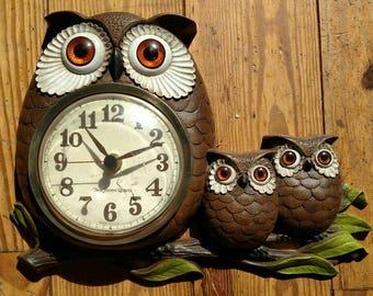 Vintage Burwood Owl Family Clock, 1972