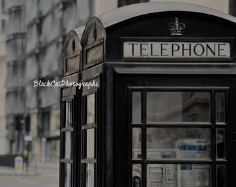 London Phone Booth England Telephone Photograph Urban Home Decor British Vintage Photo Print Black Grey London Style Travel Visit London